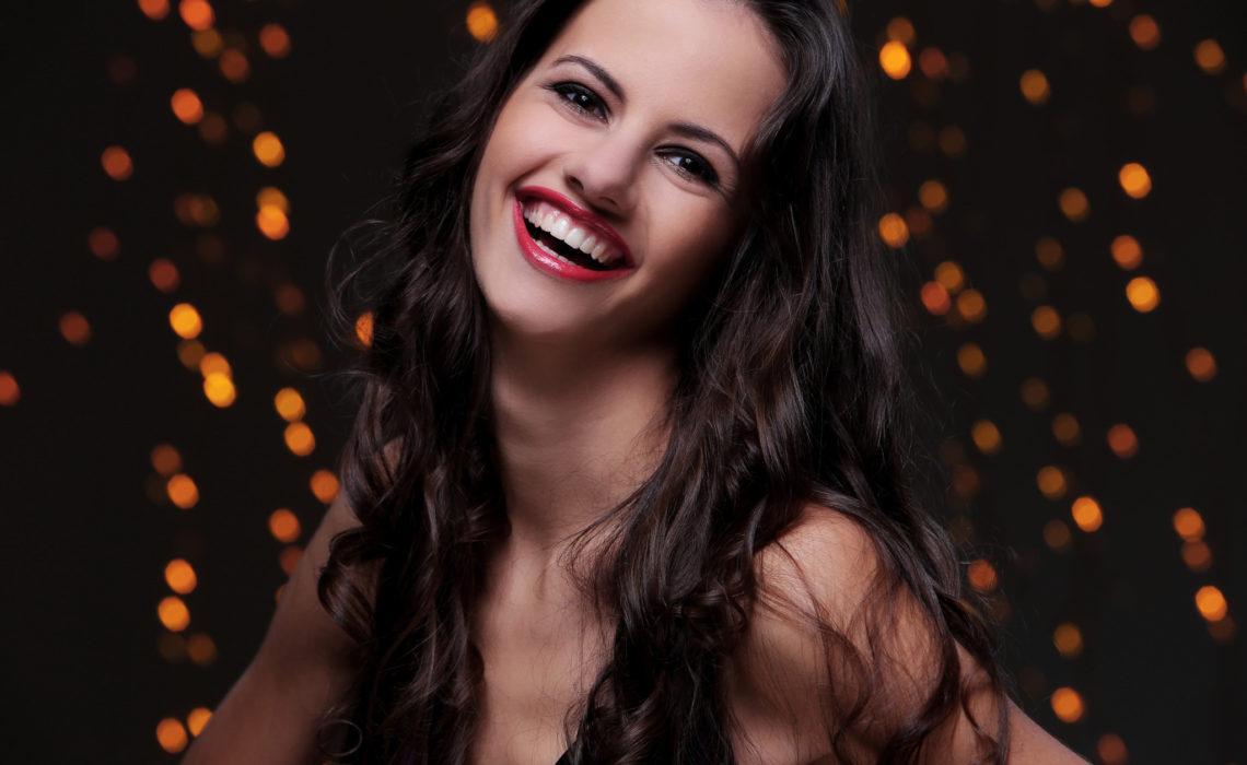 Cute brunette have beautiful, wide smile
