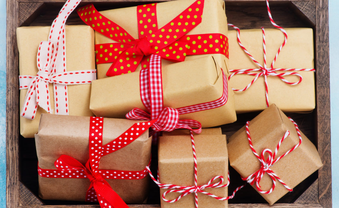 boxes for present with color ribbons, christmas gifts