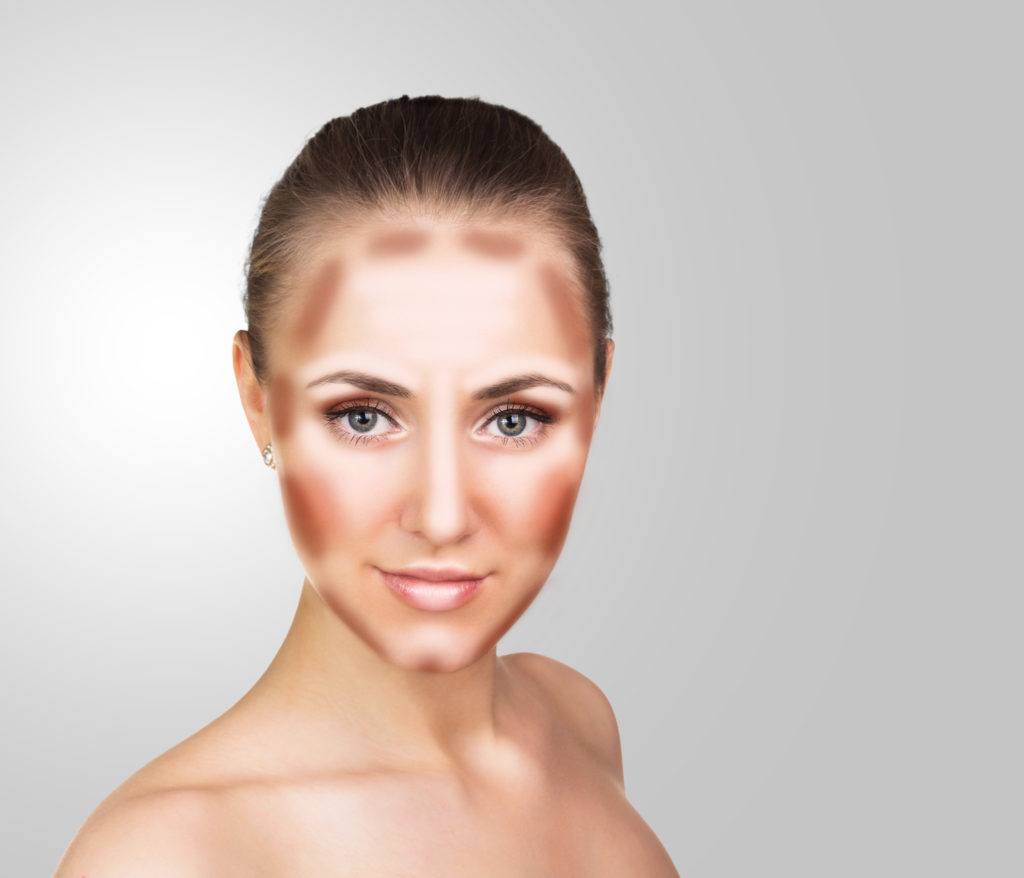 Make up woman face. Contour and Highlight makeup. Professional Contouring face make-up sample