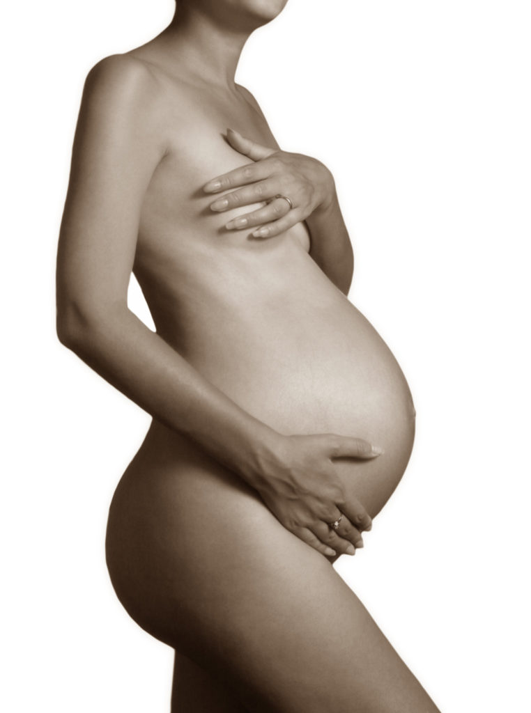 The pregnant woman on the ninth month